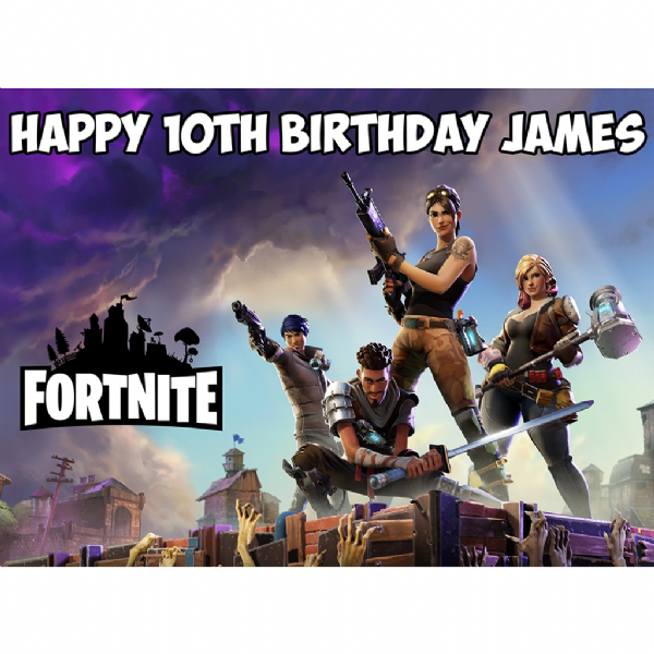 FORTNITE GAME PERSONALISED RECTANGULAR BIRTHDAY CAKE TOPPER